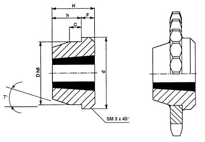 welding hubs for taper bushes
